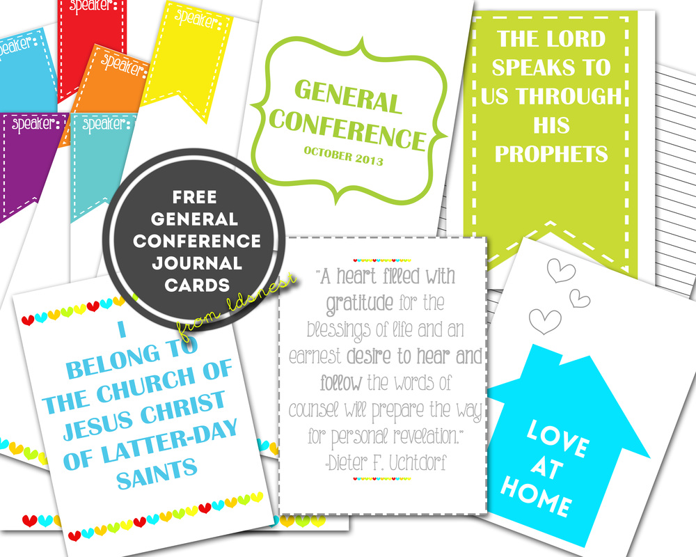 Free download from LDS NEST. General Conference journal cards and quotes! Super easy, fun way to stay focuses during conference <3