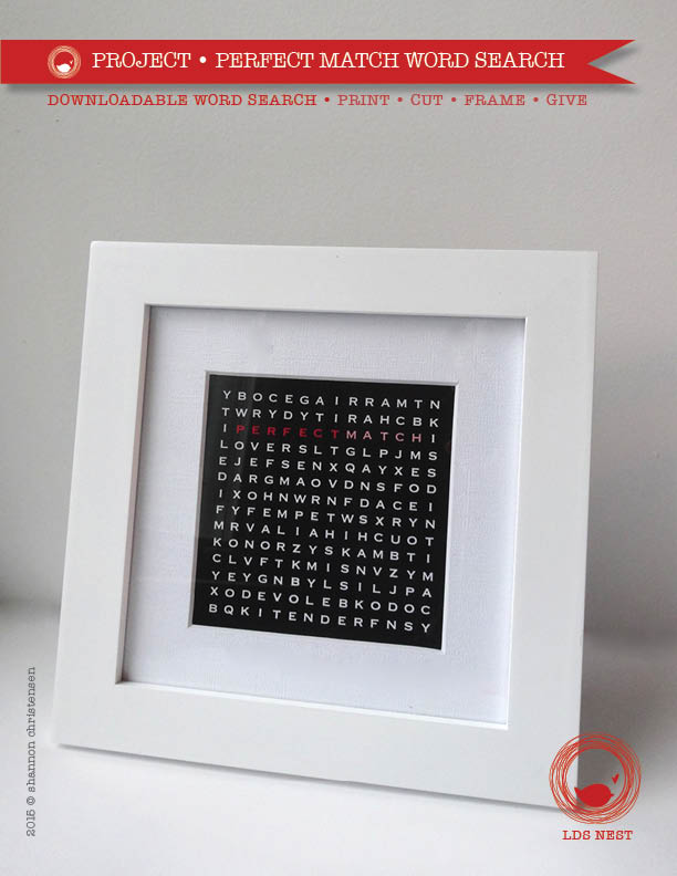 Valentine's Day Project • DIY Word Search • Perfect Match (Print • Cut • Frame • Give)