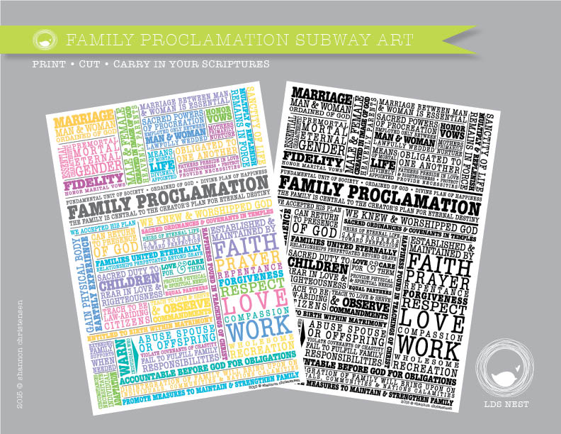 Print Family Proclamation Subway Art Download • Fits in your Scriptures