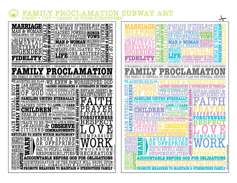 Family Proclamation Subway Art Download