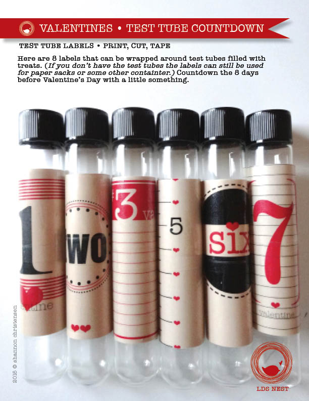 Valentine's Day Countdown • DIY Test Tube Labels • Buy, Print, Cut, Label, Fill, Give