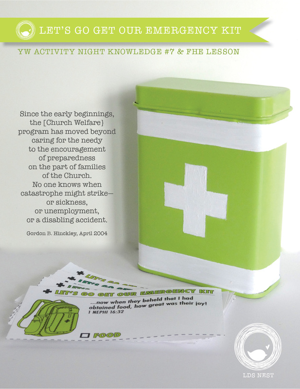 FHE & YW Knowledge #7• Let's Go Get Our Emergency Kit • LDSNEST.com