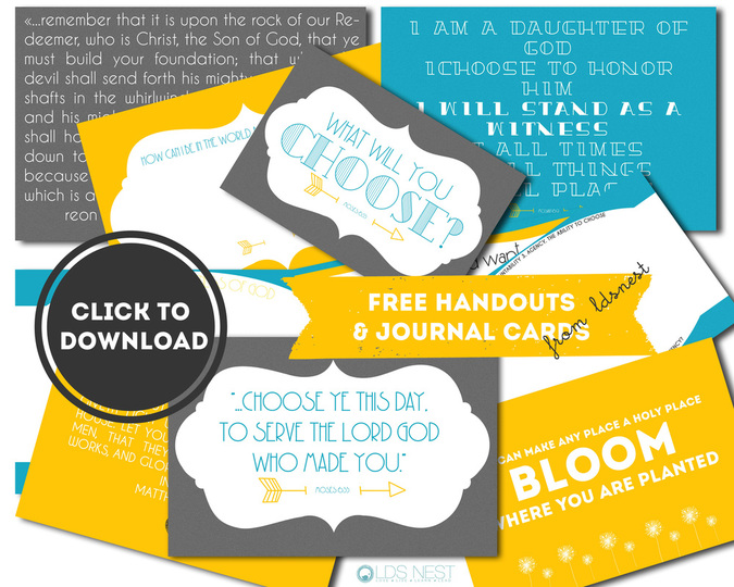 Free download! Come, Follow Me handouts from LDS NEST. Free download! <3 #youngwomen #ldsyw #ywideas